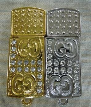 The rectangular metal jewelry Material golden and silver USB Flash drives,4GB 8GB 16GB 32GB 64GB  Memory Stick Flash Pen Drive