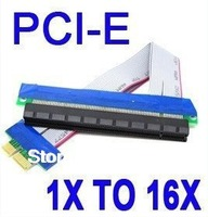 2pcs/lot,Flexible PCI-Express 1x to 16x Riser Extender Cable with Free shipping