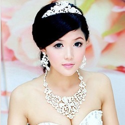 Special offer Crystal wedding bridal jewelry sets Wedding necklace earring crown combine J0022 free shipping(China (Mainland))