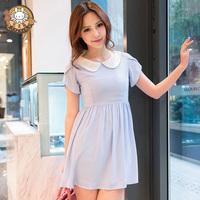 2013 spring and summer women's gentlewomen peter pan collar plus size princess slim basic chiffon one-piece dress