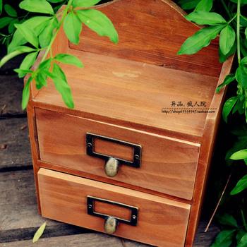 Zakka double layer cabinet double drawer vintage solid wood storage box wool storage cabinet retro finishing