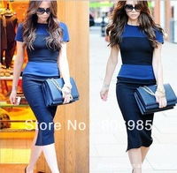 Free shipping CREW NECK COLOR BLOCK SHORT SLLEVE SLIT BACL BODYCON DRESS WITH BACK ZIPPER