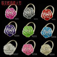 Free Shipping hotsale alloy bag hook rose flower foldable Bag Hanger metal Purse Hook/Handbag Holder Gift Bags Accessories