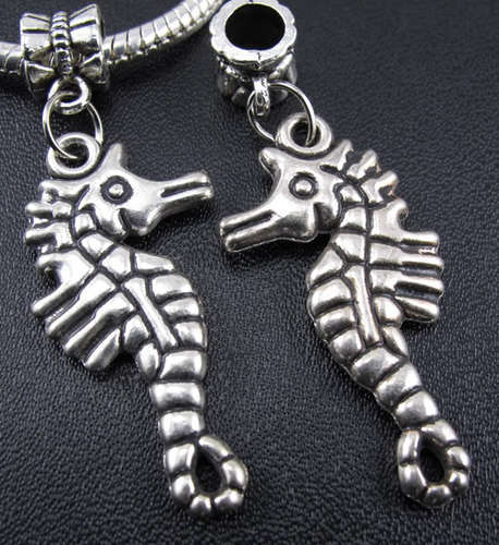 28pcs Sea horse Fossil Beads Fit Charm Bracelet 45x18mm (3200)(China (Mainland))