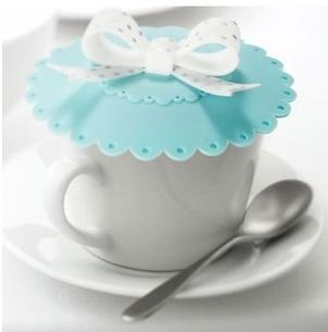 Free Shipping 2pcs Sky Blue red bow leak-proof cup silica gel seal lid Silicone seal Cute leak-proof and dust-proof  cup lip
