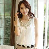 2013 Autumn Women's Sleeveless Vest Spaghetti Strap Chiffon Tank Tops For Female  White,S - XL  18912