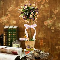 1 X Quality European Style Silk rose  flower Bonsai  tree w/metal pot,bridal party table decorations  *FREE SHIPPING*