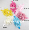 2013 NEW Baby Girls chiffon Headband for Photography props rose pearl flower Headbands infant hair accessory 8colors