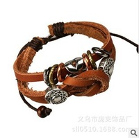 New Vintage Handmade Woven Genuine Leather Wrap Charm Bracelet Bangle for Unisex Women Men Jewelry Braided Rope Wholesale Hot