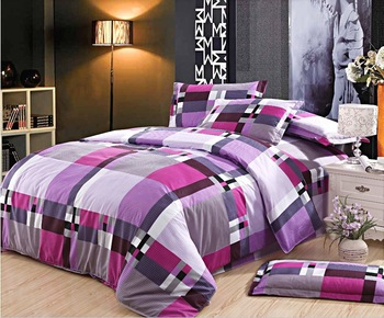 Free Shipping Fashion Plaid Printed Diamond Cotton 4pcs King/Queen Bedding Set/Duvet Cover/Bed Sheet/Pillowcase W0041