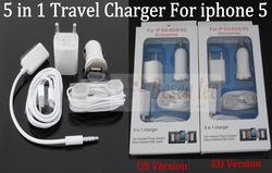 5 in 1 Kit Charger For iphone 5, Wall Charger+Car Charger+Data Cable+Earphone+Audio Splitter, 5 Sets(25pcs)/lot Free Shipping(China (Mainland))