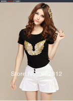 2013 Free Shipping Women Plus Size T-Shirt Embroidery Beading Diamond Sequined  Gold Angel Wings T-Shirt XU054