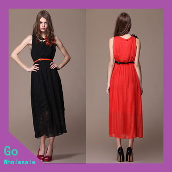 1Piece Free Shipping 2013 New Arrival Fashion Women Casual Chiffon Summer Pleated Floor-Length Maxi Dress Solid With Belt GM6001