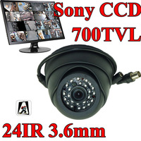 Vanxse CCTV 24IR 1/3 Sony CCD 700TVL Dome Security Camera D/N 3.6mm wide Lens Indoor CCD Surveillance Camera