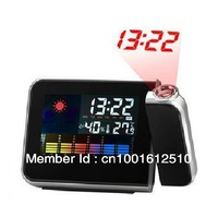 Weather Multi-function Station Projection Alarm Clock LED Display Free Shipping+Drop Shipping+ gift usb line