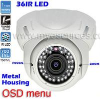 """free shipping 1/3"""" Sony Effio e seucrity ir dome 700tvl 36 leds 2.8~12mm varifocal lens indoor dome surveillance CCTV Camera ir"""