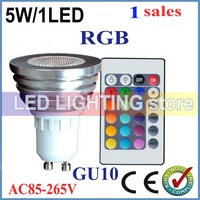 good quality 1pcs/lot Led Spot Light 5W AC/DC12V GU10 E27 MR16 RGB led lamp High Power Colourful Party Club +Free Shipping