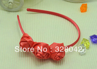 Trail order princess Free Shipping triple pink Satin rose flower Hairbands girl cute Christmas gifts hair accessory 12pcs/lot