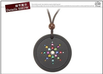 Promotion Quantum Pendants scalar energy necklace healthy banlance black round pendant with diamond ESPECIAL OFFER GX518
