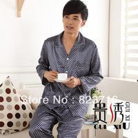Free shopping spring and summer male emulation silk pajamas men's long-sleeve sleepwear twinset