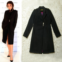 Fashion victoria velvet wool woolen long overcoat design brief black outerwear