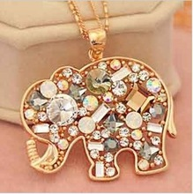 RN-0343 Korean Fashion Jewelry For Women 2013 New Crystal Lucky Lovely Elephant Necklace (Min Order=$10)