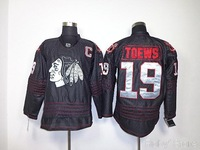 New Style Blackhawks  #19 Jonathan Toews Black Ice Hockey Jersey Free Shipping Stitched Numbers