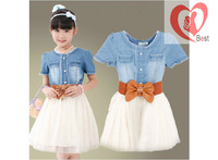Free shipping   2013 summer the Girls new fresh casual cotton thin denim short-sleeved chiffon dress