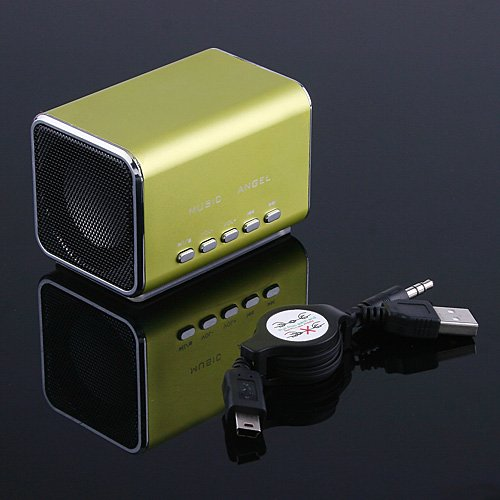 Sliver Mini Speaker Micro SD/TF Music Player for Laptop iPod C1106GR Free Shipping Wholesale(China (Mainland))