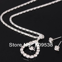 Silvered Crystal Czdimond Water-drop Pendant Necklace +Stud Earring  Wedding Gifts 40set/lot