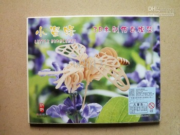 3D wooden three-dimensional jigsaw puzzle simulation model Toys bee flower