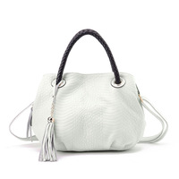 Genuine leather women's handbag serpentine pattern cowhide knitted handbag tassel one shoulder cross-body small bags bucket bag