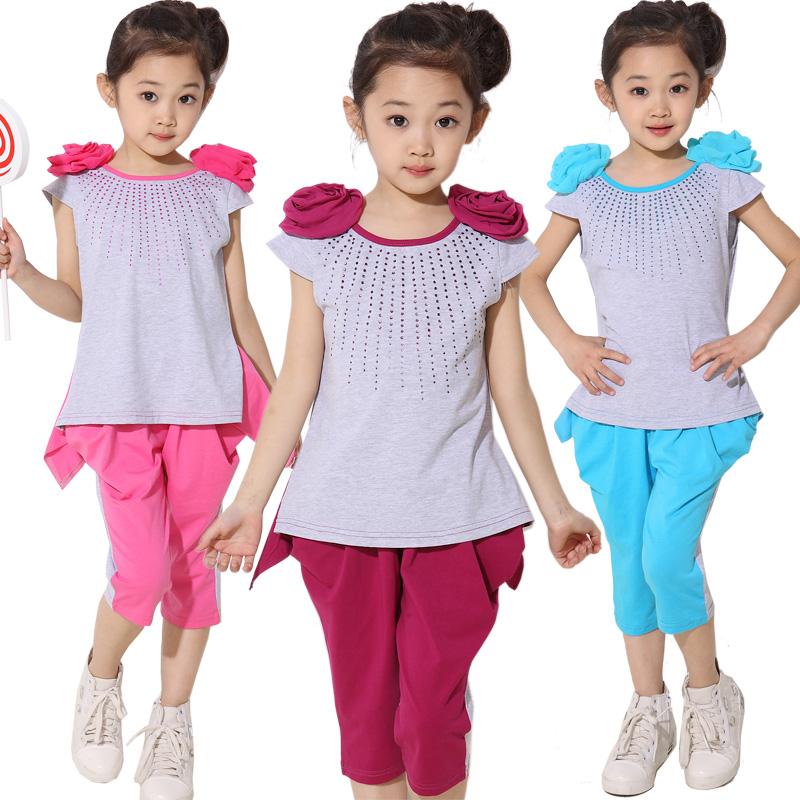 ملابس الاطفال صيف 2013 Children-s-clothing-female-child-summer-2013-child-set-shoulder-flower-sports-fashion-twinset-e3898.jpg