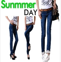 Free shipping 2013 new Roll up hem skinny pants pencil pants denim trousers popular Women 8133 cotton women's jeans