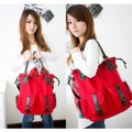 Fashion bag vintage multi-pocket shoulder bag canvas bag elegant women's handbag one shoulder cross-body