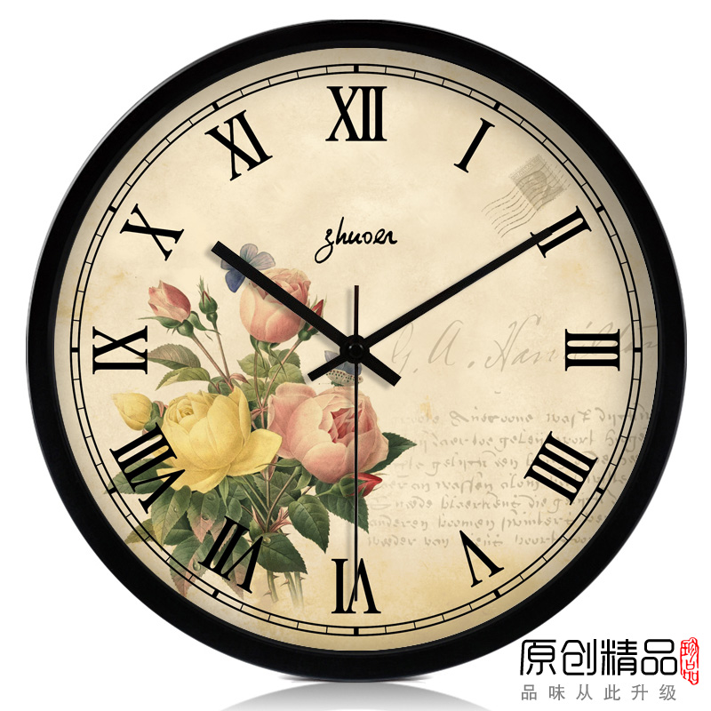 2013 hot sale upscale Rose vintage fashion watches and clocks mute wall clock fashion clock modern pocket watch(China (Mainland))
