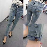 new fashion spring summer autumn 2015 plus size Water wash hemming capris ripped casual skinny jeans women denim pencil pants