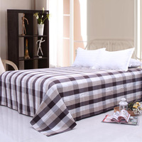 Large plaid british style old coarse single bed laguan bed sheets 100% cotton