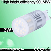 High lumen 90LM/W  ultra bright  2700K/3000K/4000K/6000K led g9 3w