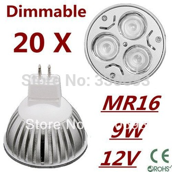 FREE SHIPPING 20pcs/lot MR16 9W 3LED AC/DC12V High power LED Bulb Spotlight Downlight Lamp LED Lighting