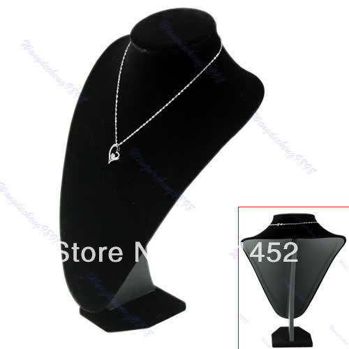 Free Shipping Black Velvet Bust Necklace Chain Jewelry Display Stand Show Shelf New(China (Mainland))