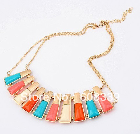 Colorful Alloy Necklace Jewelry Trendy Necklace Jewelery Buy Online Costume Jewellery at Wholesale Store Free Shipping DGGN018(China (Mainland))