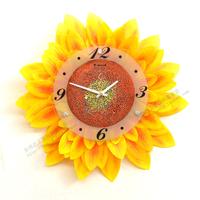 Free Shipping cartoon sunflower Wall Clock silent pocket watch rustic fashion clock brief  Wall Clocks wall clock modern design