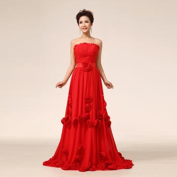 Sweet tube top flower short trailing the bride evening dress dinner party long design formal dress customize