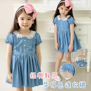 [Free Shipping]Retail!2013 New girl dress,kids/children clothing,children dress,girl denim dress,girl summer wear princess dress