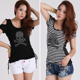 Fashion summer street fashion all-match new strapless T-shirt short-sleeve o-neck skull bandage sexy female basic shirt