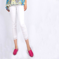 Spring and summer new arrival plus size pants fashion white casual lace decoration patchwork plus size skinny pants