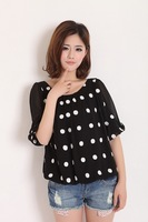 Plus size clothing 2013 summer new arrival thin dot embroidery short-sleeve chiffon shirt