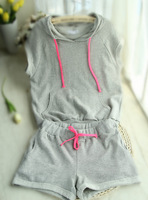 Summer color block twinset sports set Women casual set 2013 women's sweatshirt set
