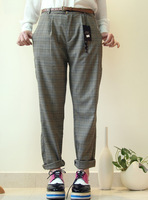 Smoke 2013 spring loose plaid check casual pants harem pants female send strap